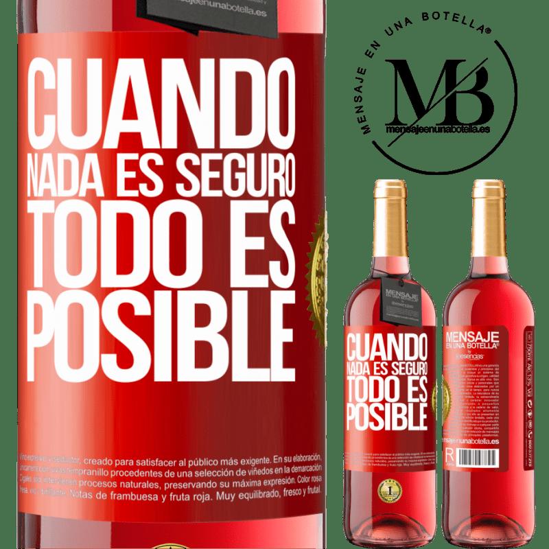 24,95 € Envoi gratuit   Vin rosé Édition ROSÉ Quand rien n'est sûr, tout est possible Étiquette Rouge. Étiquette personnalisable Vin jeune Récolte 2020 Tempranillo