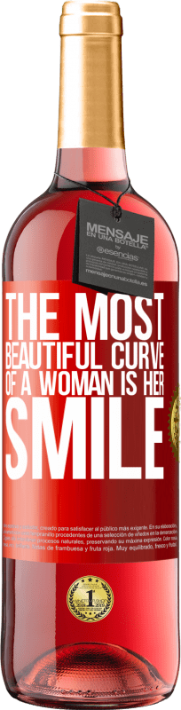 24,95 € Free Shipping   Rosé Wine ROSÉ Edition The most beautiful curve of a woman is her smile Red Label. Customizable label Young wine Harvest 2020 Tempranillo
