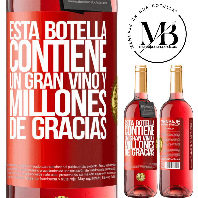 24,95 € Envoi gratuit | Vin rosé Édition ROSÉ Cette bouteille contient un grand vin et des millions de MERCI! Étiquette Rouge. Étiquette personnalisable Vin jeune Récolte 2020 Tempranillo