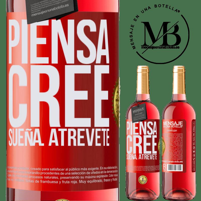 24,95 € Envoi gratuit | Vin rosé Édition ROSÉ Pensez Créer Rêve. Osez Étiquette Rouge. Étiquette personnalisable Vin jeune Récolte 2020 Tempranillo
