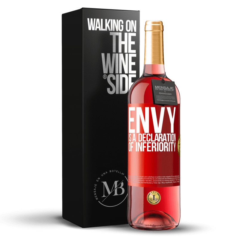 24,95 € Free Shipping   Rosé Wine ROSÉ Edition Envy is a declaration of inferiority Red Label. Customizable label Young wine Harvest 2020 Tempranillo