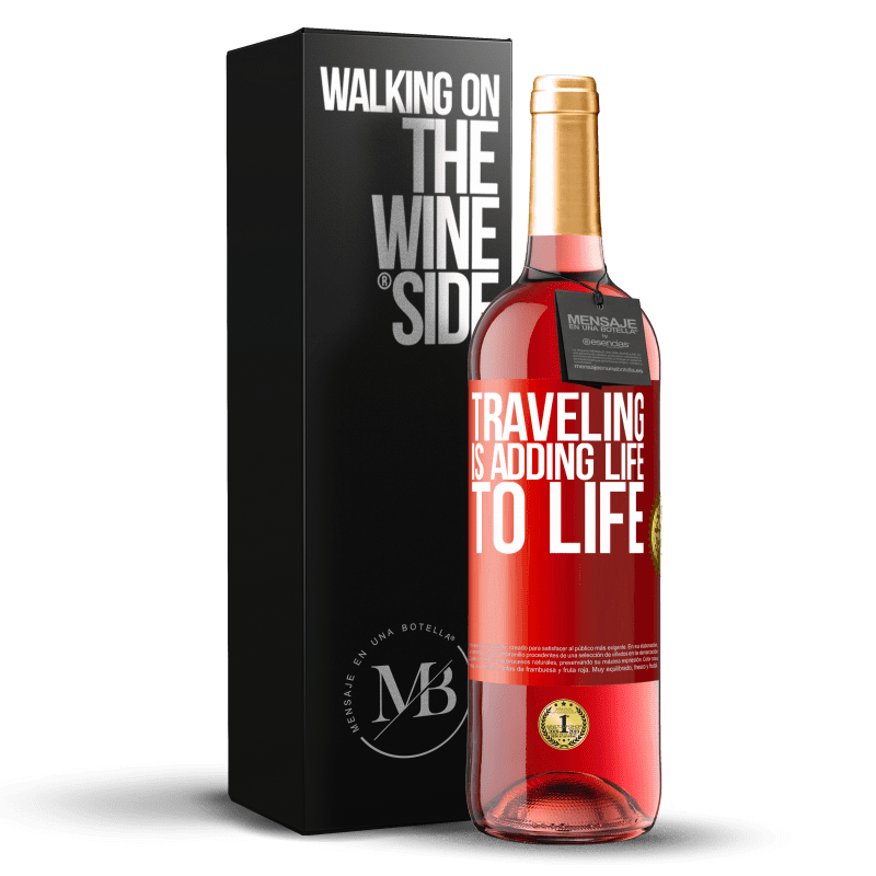 24,95 € Free Shipping | Rosé Wine ROSÉ Edition Traveling is adding life to life Red Label. Customizable label Young wine Harvest 2020 Tempranillo
