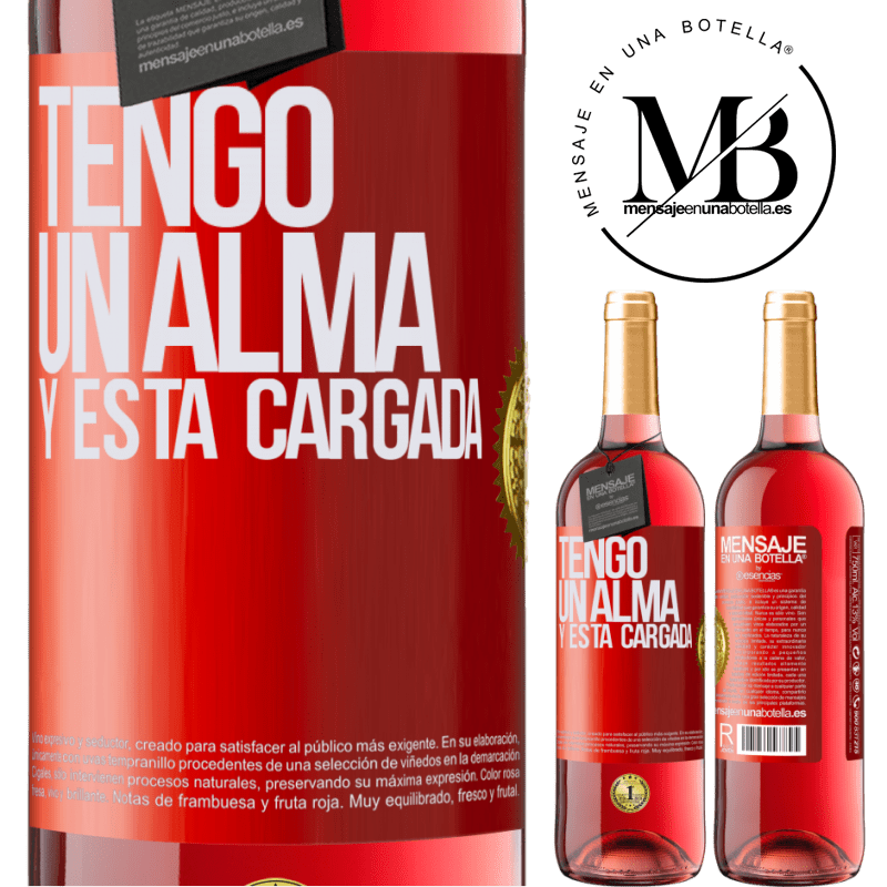 24,95 € Envoi gratuit   Vin rosé Édition ROSÉ Tengo un alma y está cargada Étiquette Rouge. Étiquette personnalisable Vin jeune Récolte 2020 Tempranillo