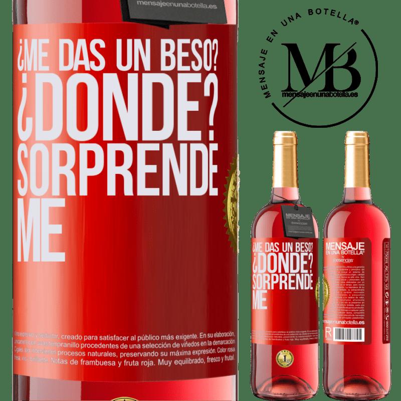 24,95 € Envoi gratuit   Vin rosé Édition ROSÉ tu me fais un bisou? O?? Surprenez moi Étiquette Rouge. Étiquette personnalisable Vin jeune Récolte 2020 Tempranillo