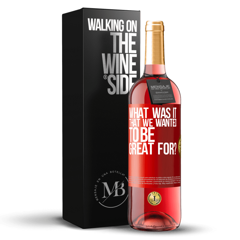 24,95 € Free Shipping   Rosé Wine ROSÉ Edition what was it that we wanted to be great for? Red Label. Customizable label Young wine Harvest 2020 Tempranillo