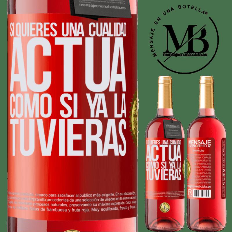 24,95 € Envoi gratuit   Vin rosé Édition ROSÉ Si vous voulez une qualité, faites comme si vous l'aviez déjà Étiquette Rouge. Étiquette personnalisable Vin jeune Récolte 2020 Tempranillo