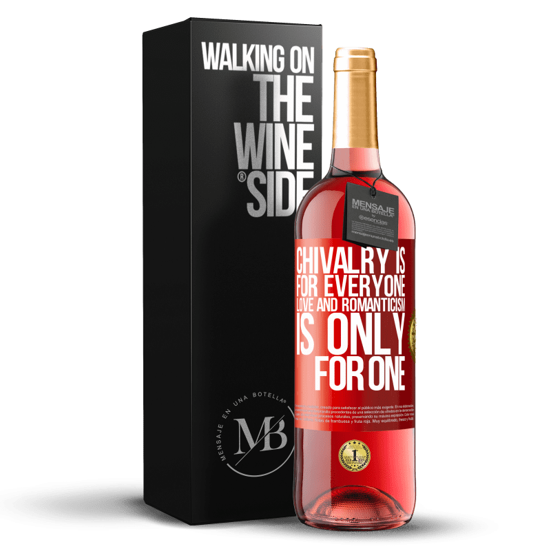 24,95 € Free Shipping | Rosé Wine ROSÉ Edition Chivalry is for everyone. Love and romanticism is only for one Red Label. Customizable label Young wine Harvest 2020 Tempranillo