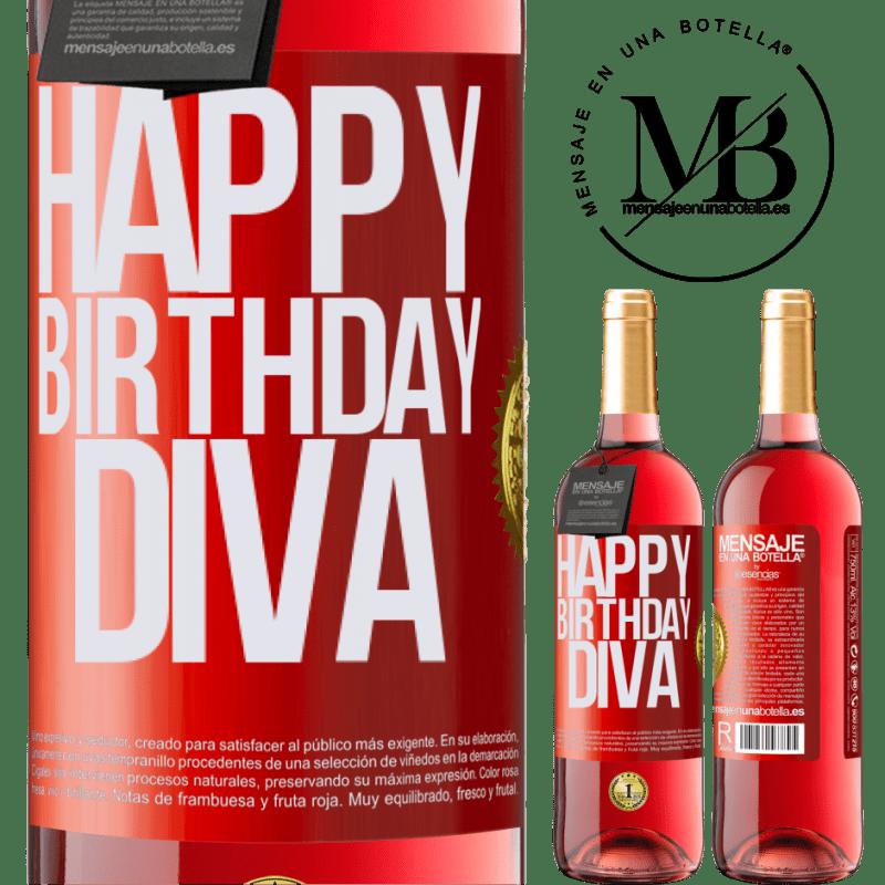 24,95 € Envoi gratuit | Vin rosé Édition ROSÉ Joyeux anniversaire Diva Étiquette Rouge. Étiquette personnalisable Vin jeune Récolte 2020 Tempranillo