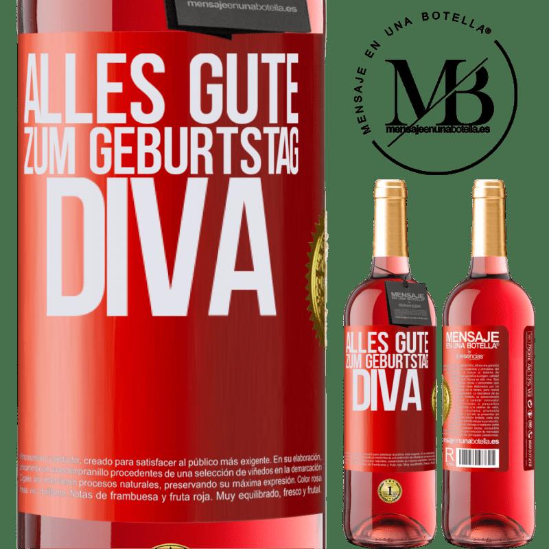 24,95 € Kostenloser Versand | Roséwein ROSÉ Ausgabe Alles Gute zum Geburtstag Diva Rote Markierung. Anpassbares Etikett Junger Wein Ernte 2020 Tempranillo