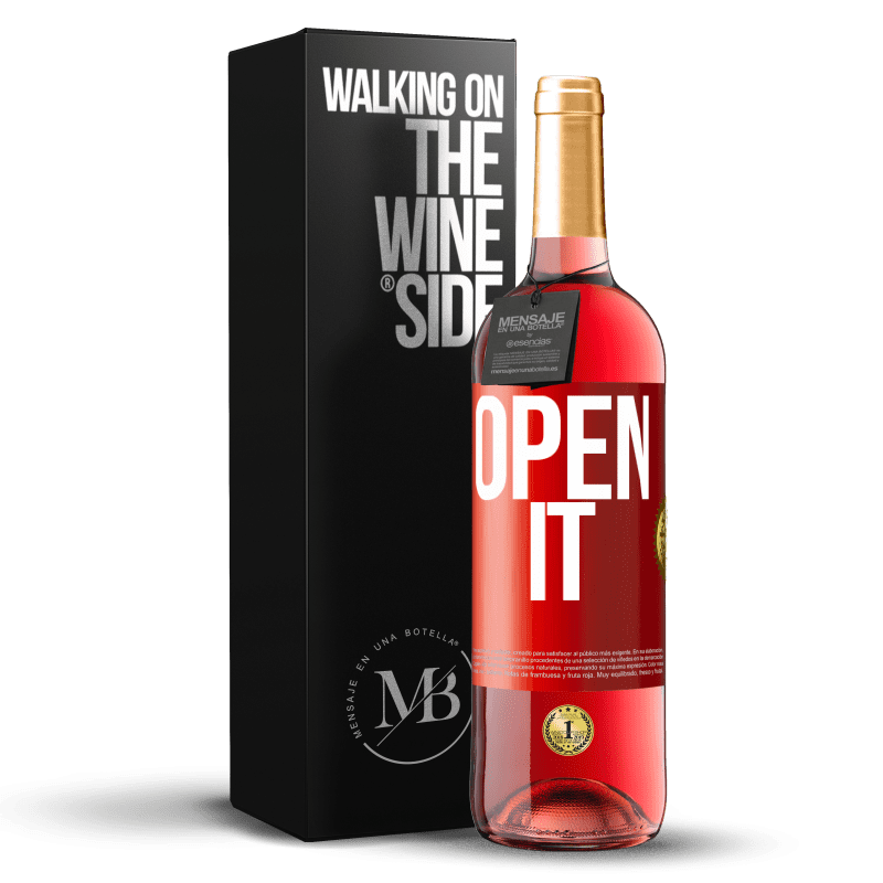 24,95 € Free Shipping | Rosé Wine ROSÉ Edition Open it Red Label. Customizable label Young wine Harvest 2020 Tempranillo