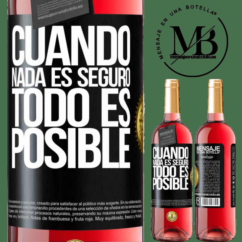 24,95 € Envoi gratuit   Vin rosé Édition ROSÉ Quand rien n'est sûr, tout est possible Étiquette Noire. Étiquette personnalisable Vin jeune Récolte 2020 Tempranillo