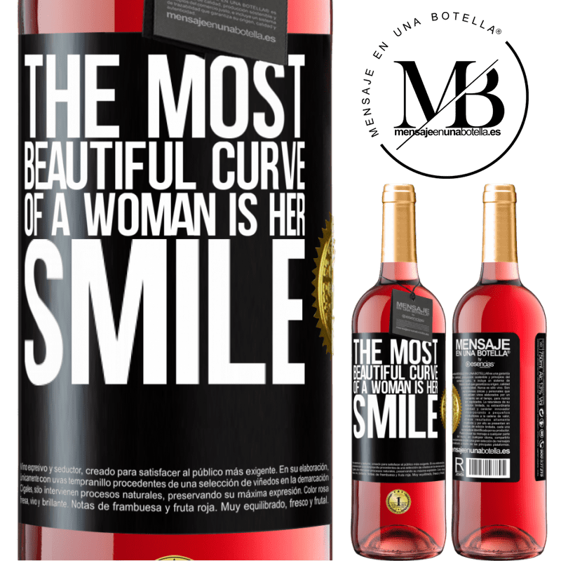 24,95 € Free Shipping   Rosé Wine ROSÉ Edition The most beautiful curve of a woman is her smile Black Label. Customizable label Young wine Harvest 2020 Tempranillo