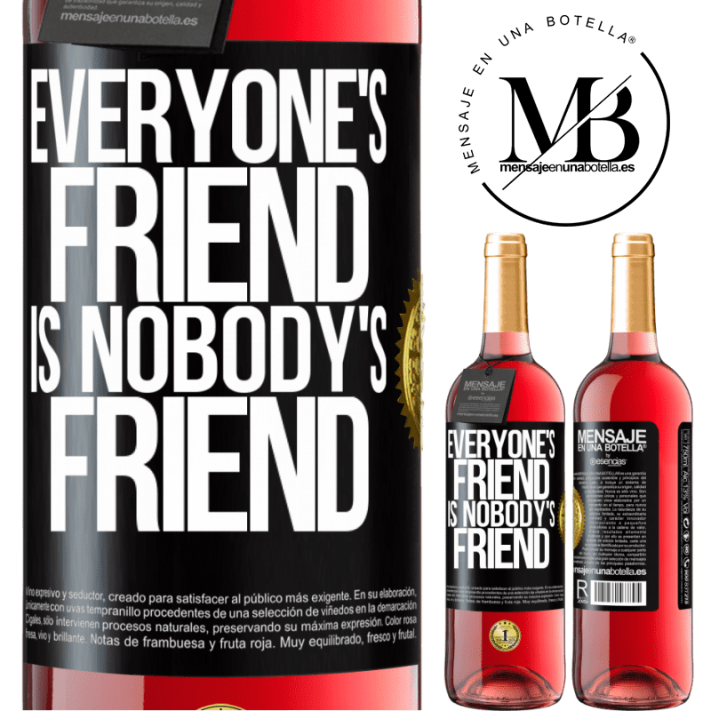 24,95 € Free Shipping | Rosé Wine ROSÉ Edition Everyone's friend is nobody's friend Black Label. Customizable label Young wine Harvest 2020 Tempranillo