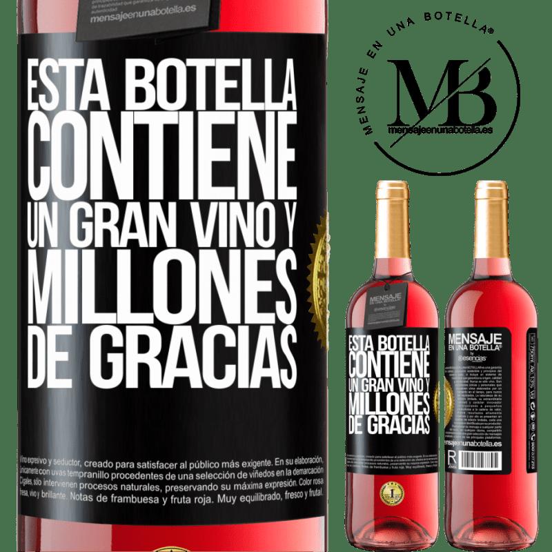 24,95 € Envoi gratuit | Vin rosé Édition ROSÉ Cette bouteille contient un grand vin et des millions de MERCI! Étiquette Noire. Étiquette personnalisable Vin jeune Récolte 2020 Tempranillo