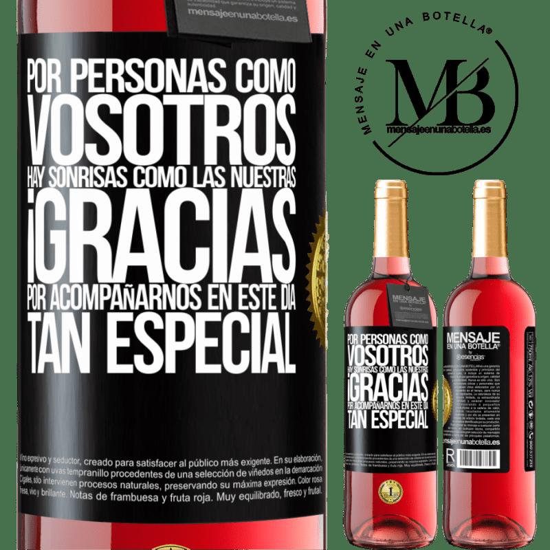 24,95 € Envoi gratuit | Vin rosé Édition ROSÉ Pour des gens comme vous, il y a des sourires comme le nôtre. Merci de vous joindre à nous en cette journée spéciale Étiquette Noire. Étiquette personnalisable Vin jeune Récolte 2020 Tempranillo