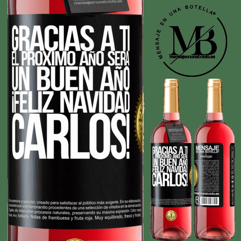 24,95 € Envoi gratuit   Vin rosé Édition ROSÉ Merci à vous l'année prochaine sera une bonne année. Joyeux Noël, Carlos! Étiquette Noire. Étiquette personnalisable Vin jeune Récolte 2020 Tempranillo