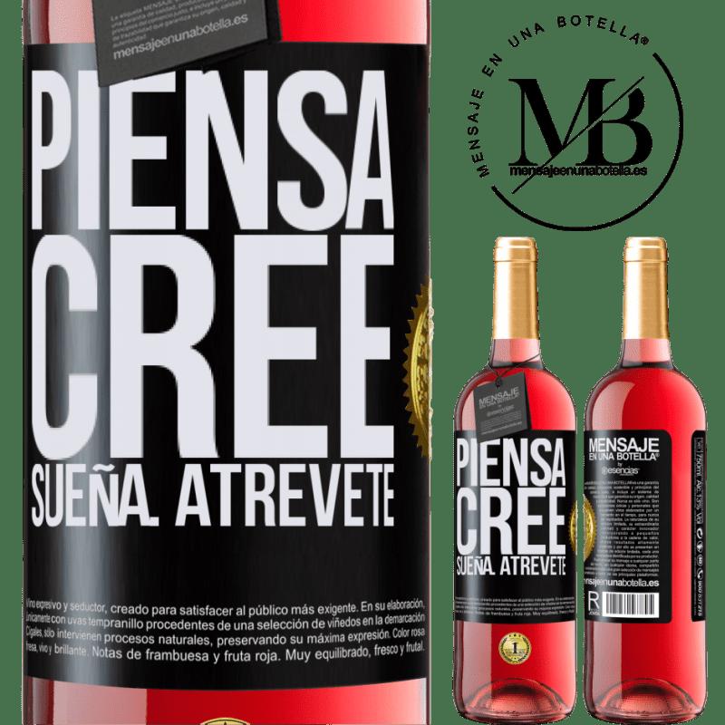 24,95 € Envoi gratuit | Vin rosé Édition ROSÉ Pensez Créer Rêve. Osez Étiquette Noire. Étiquette personnalisable Vin jeune Récolte 2020 Tempranillo