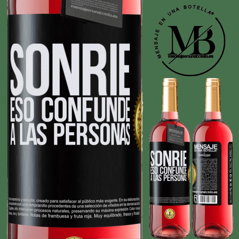 24,95 € Envoi gratuit | Vin rosé Édition ROSÉ Sourire, qui déroute les gens Étiquette Noire. Étiquette personnalisable Vin jeune Récolte 2020 Tempranillo