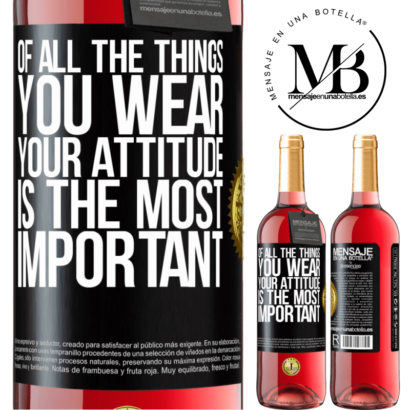 24,95 € Free Shipping | Rosé Wine ROSÉ Edition Of all the things you wear, your attitude is the most important Black Label. Customizable label Young wine Harvest 2020 Tempranillo