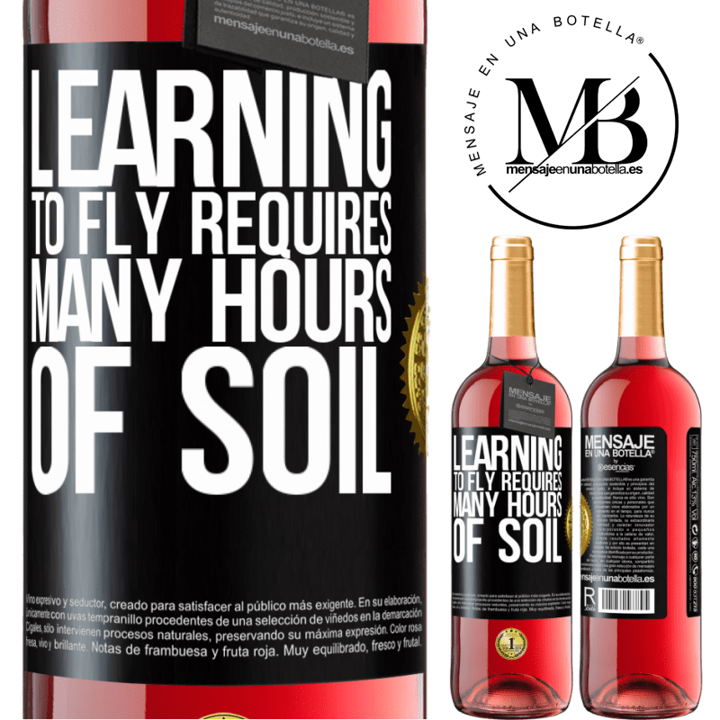 24,95 € Free Shipping | Rosé Wine ROSÉ Edition Learning to fly requires many hours of soil Black Label. Customizable label Young wine Harvest 2020 Tempranillo