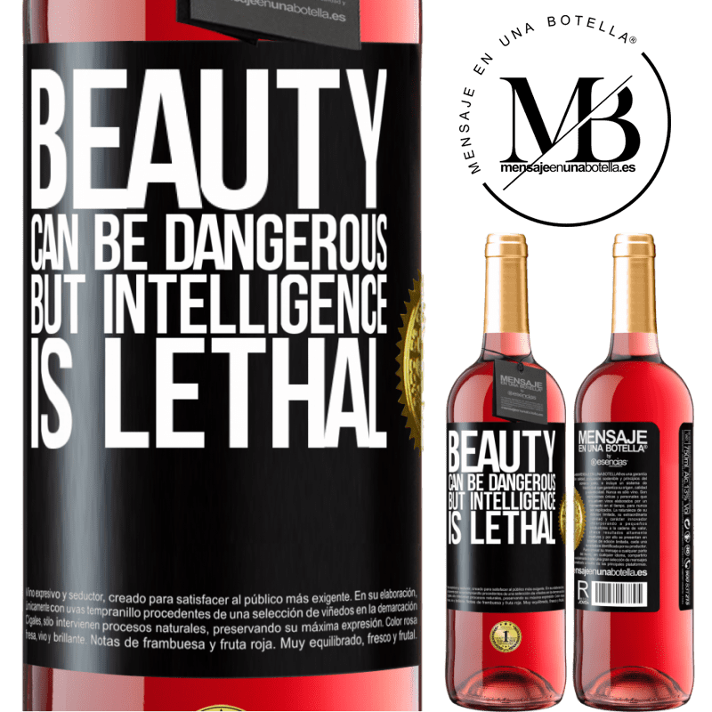 24,95 € Free Shipping   Rosé Wine ROSÉ Edition Beauty can be dangerous, but intelligence is lethal Black Label. Customizable label Young wine Harvest 2020 Tempranillo