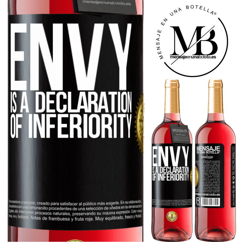 24,95 € Free Shipping   Rosé Wine ROSÉ Edition Envy is a declaration of inferiority Black Label. Customizable label Young wine Harvest 2020 Tempranillo