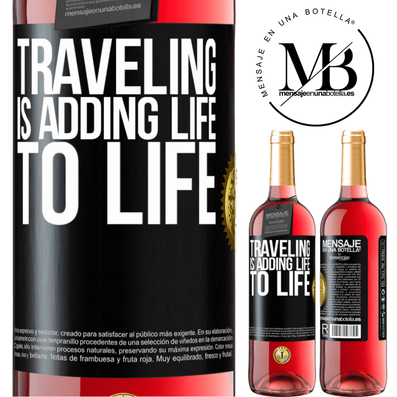 24,95 € Free Shipping | Rosé Wine ROSÉ Edition Traveling is adding life to life Black Label. Customizable label Young wine Harvest 2020 Tempranillo