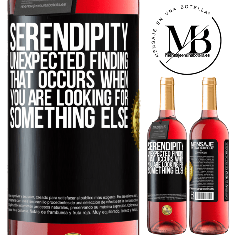 24,95 € Free Shipping | Rosé Wine ROSÉ Edition Serendipity Unexpected finding that occurs when you are looking for something else Black Label. Customizable label Young wine Harvest 2020 Tempranillo