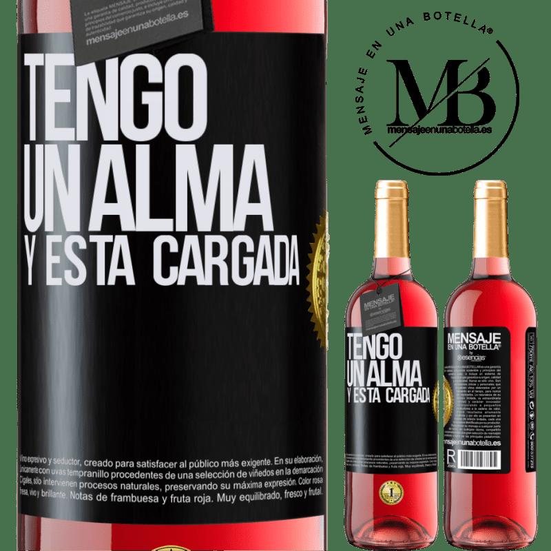 24,95 € Envoi gratuit   Vin rosé Édition ROSÉ Tengo un alma y está cargada Étiquette Noire. Étiquette personnalisable Vin jeune Récolte 2020 Tempranillo