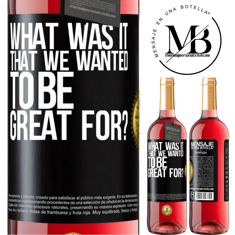 24,95 € Free Shipping   Rosé Wine ROSÉ Edition what was it that we wanted to be great for? Black Label. Customizable label Young wine Harvest 2020 Tempranillo
