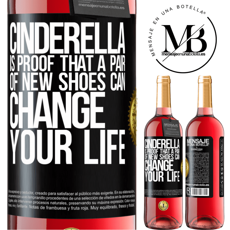 24,95 € Free Shipping | Rosé Wine ROSÉ Edition Cinderella is proof that a pair of new shoes can change your life Black Label. Customizable label Young wine Harvest 2020 Tempranillo