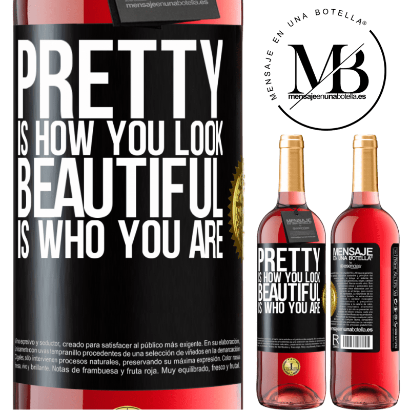24,95 € Free Shipping   Rosé Wine ROSÉ Edition Pretty is how you look, beautiful is who you are Black Label. Customizable label Young wine Harvest 2020 Tempranillo