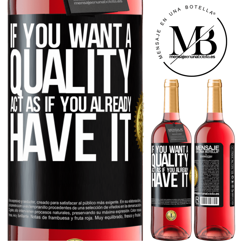 24,95 € Free Shipping | Rosé Wine ROSÉ Edition If you want a quality, act as if you already had it Black Label. Customizable label Young wine Harvest 2020 Tempranillo