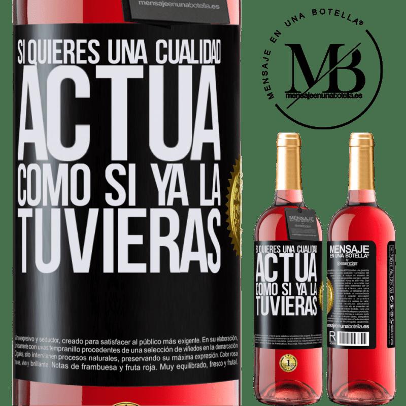 24,95 € Envoi gratuit   Vin rosé Édition ROSÉ Si vous voulez une qualité, faites comme si vous l'aviez déjà Étiquette Noire. Étiquette personnalisable Vin jeune Récolte 2020 Tempranillo