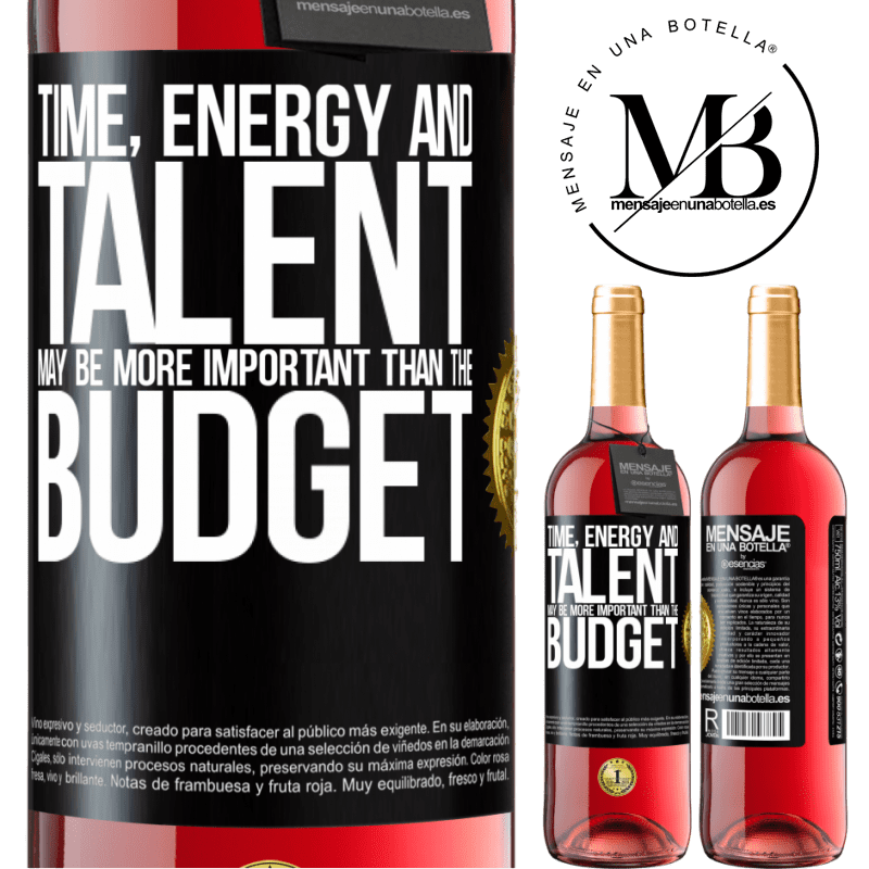 24,95 € Free Shipping | Rosé Wine ROSÉ Edition Time, energy and talent may be more important than the budget Black Label. Customizable label Young wine Harvest 2020 Tempranillo