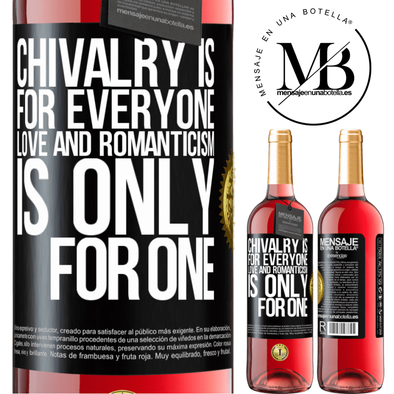24,95 € Free Shipping | Rosé Wine ROSÉ Edition Chivalry is for everyone. Love and romanticism is only for one Black Label. Customizable label Young wine Harvest 2020 Tempranillo