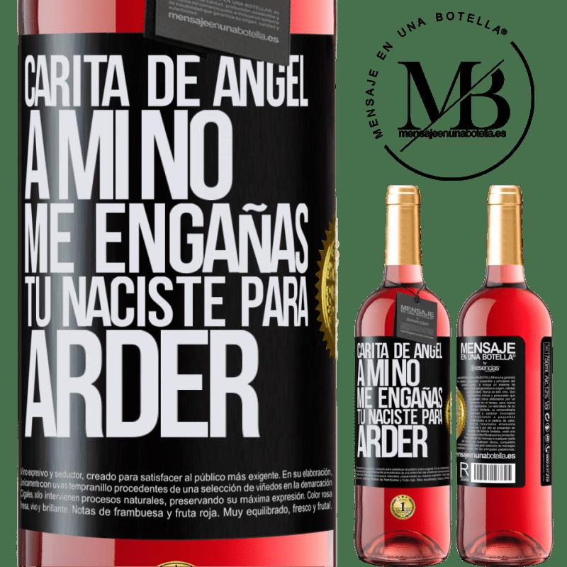 24,95 € Envoi gratuit   Vin rosé Édition ROSÉ Visage d'ange, tu ne me trompes pas, tu es né pour brûler Étiquette Noire. Étiquette personnalisable Vin jeune Récolte 2020 Tempranillo