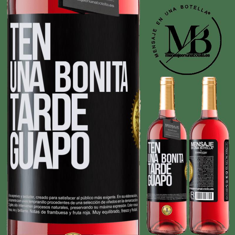 24,95 € Envoi gratuit   Vin rosé Édition ROSÉ Passez un bon après-midi, beau Étiquette Noire. Étiquette personnalisable Vin jeune Récolte 2020 Tempranillo