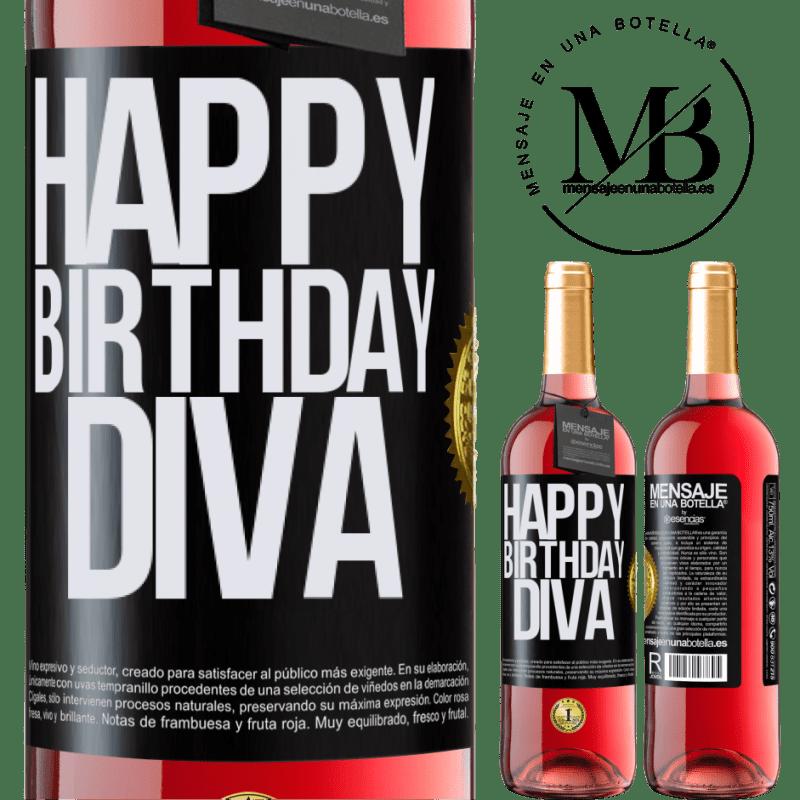 24,95 € Envoi gratuit | Vin rosé Édition ROSÉ Joyeux anniversaire Diva Étiquette Noire. Étiquette personnalisable Vin jeune Récolte 2020 Tempranillo