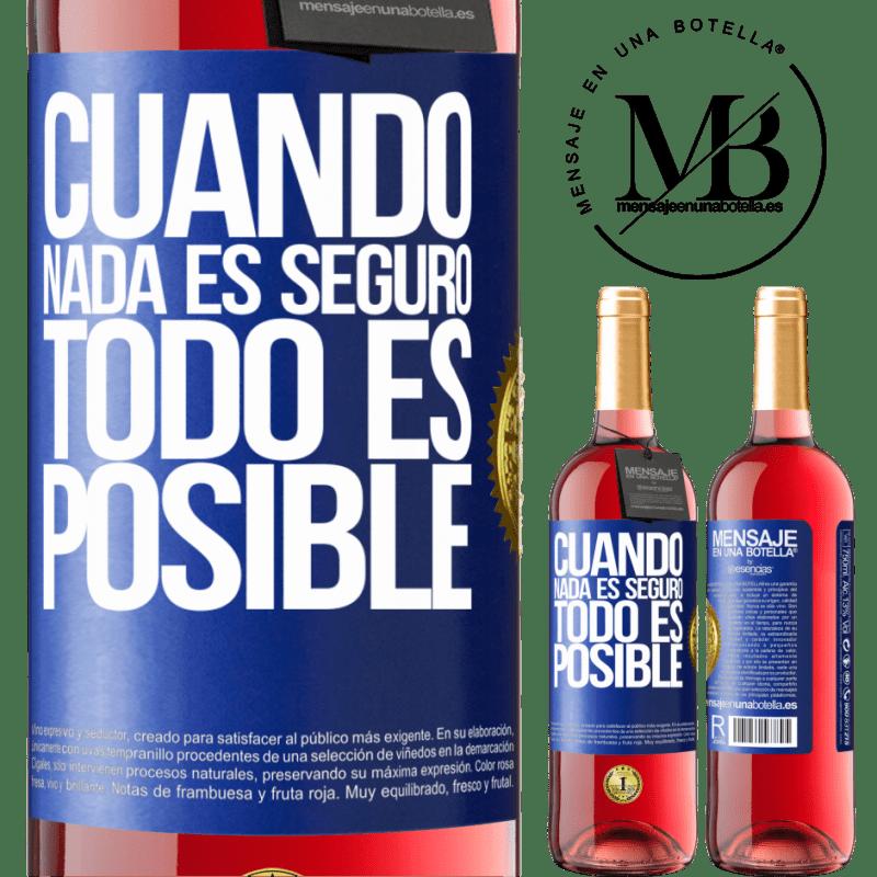 24,95 € Envoi gratuit   Vin rosé Édition ROSÉ Quand rien n'est sûr, tout est possible Étiquette Bleue. Étiquette personnalisable Vin jeune Récolte 2020 Tempranillo