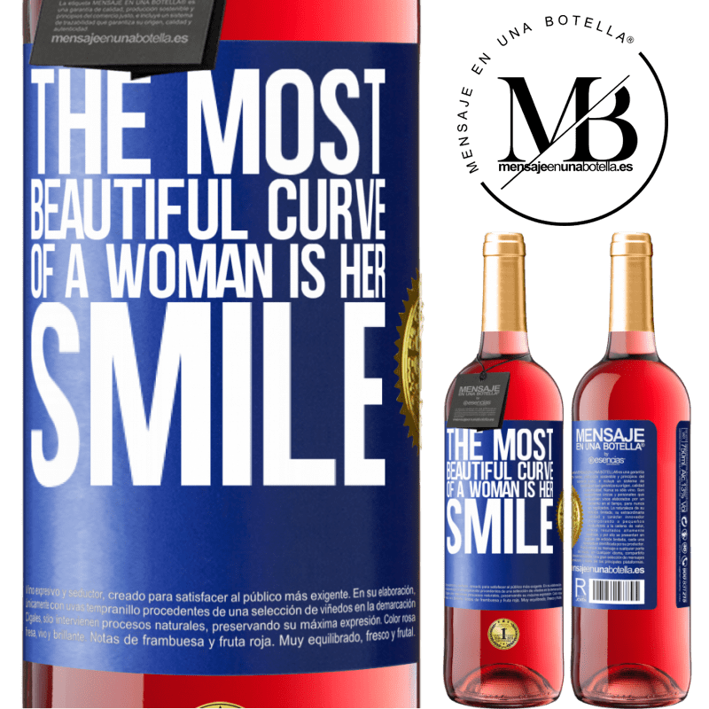 24,95 € Free Shipping   Rosé Wine ROSÉ Edition The most beautiful curve of a woman is her smile Blue Label. Customizable label Young wine Harvest 2020 Tempranillo