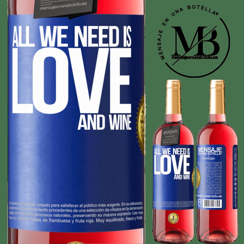 24,95 € Envoi gratuit   Vin rosé Édition ROSÉ All we need is love and wine Étiquette Bleue. Étiquette personnalisable Vin jeune Récolte 2020 Tempranillo