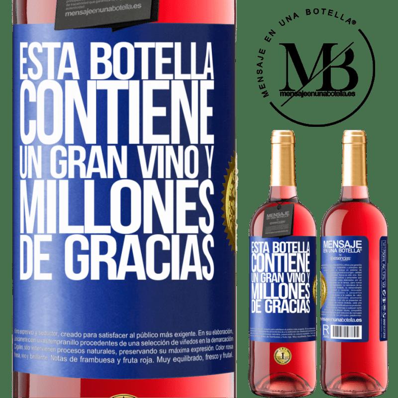 24,95 € Envoi gratuit | Vin rosé Édition ROSÉ Cette bouteille contient un grand vin et des millions de MERCI! Étiquette Bleue. Étiquette personnalisable Vin jeune Récolte 2020 Tempranillo