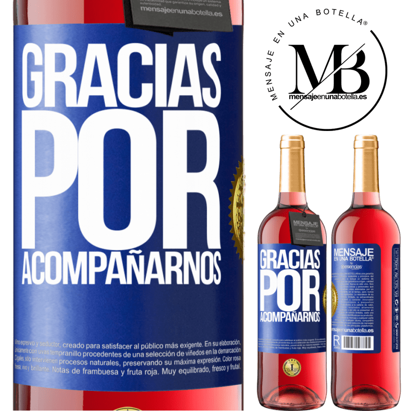 24,95 € Envoi gratuit   Vin rosé Édition ROSÉ Merci de nous accompagner Étiquette Bleue. Étiquette personnalisable Vin jeune Récolte 2020 Tempranillo
