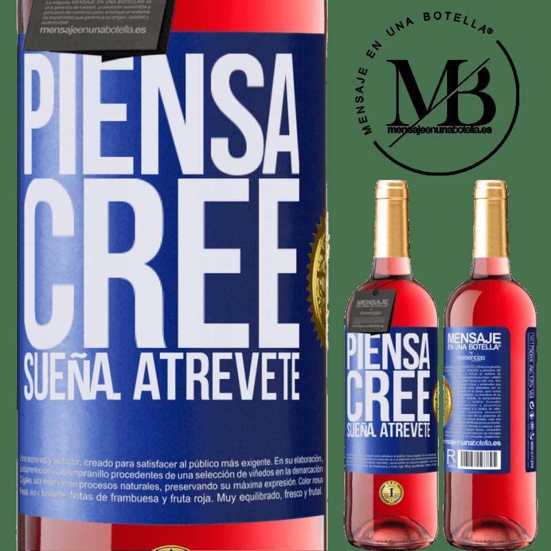 24,95 € Envoi gratuit | Vin rosé Édition ROSÉ Pensez Créer Rêve. Osez Étiquette Bleue. Étiquette personnalisable Vin jeune Récolte 2020 Tempranillo