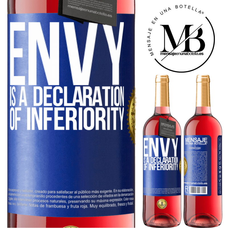 24,95 € Free Shipping   Rosé Wine ROSÉ Edition Envy is a declaration of inferiority Blue Label. Customizable label Young wine Harvest 2020 Tempranillo
