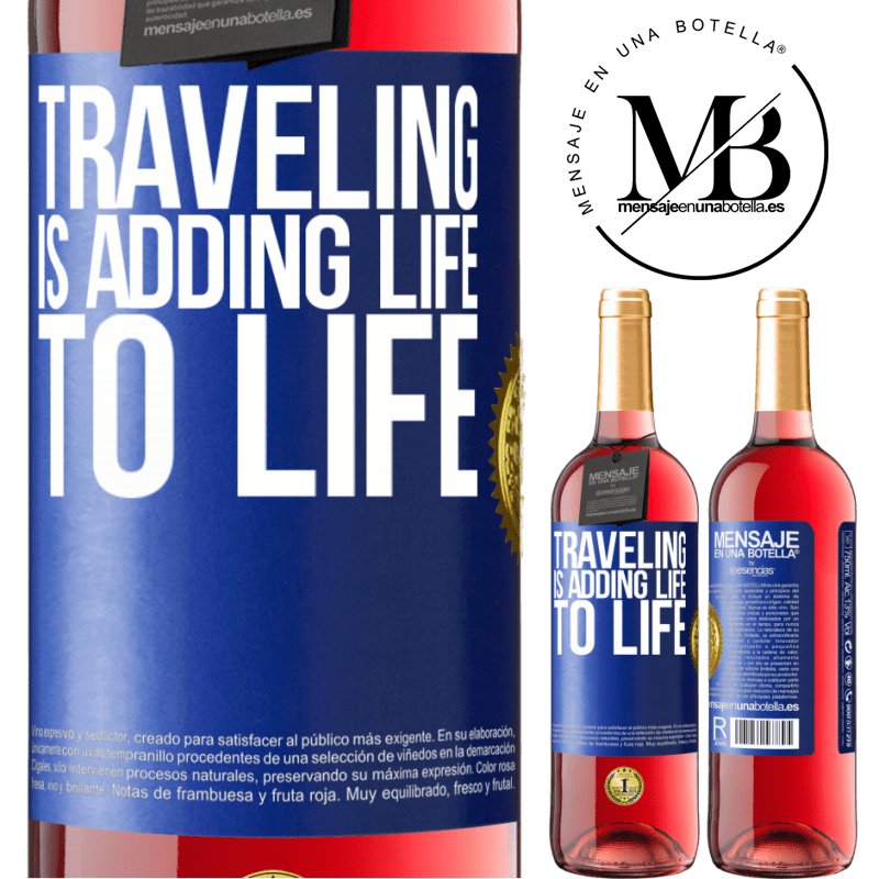 24,95 € Free Shipping | Rosé Wine ROSÉ Edition Traveling is adding life to life Blue Label. Customizable label Young wine Harvest 2020 Tempranillo