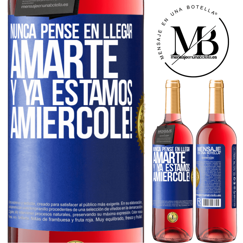 24,95 € Free Shipping | Rosé Wine ROSÉ Edition I never thought of getting to love you. And we are already Amiércole! Blue Label. Customizable label Young wine Harvest 2020 Tempranillo