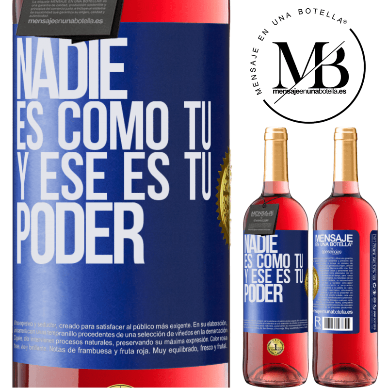 24,95 € Envoi gratuit | Vin rosé Édition ROSÉ Personne n'est comme toi, et c'est ton pouvoir Étiquette Bleue. Étiquette personnalisable Vin jeune Récolte 2020 Tempranillo