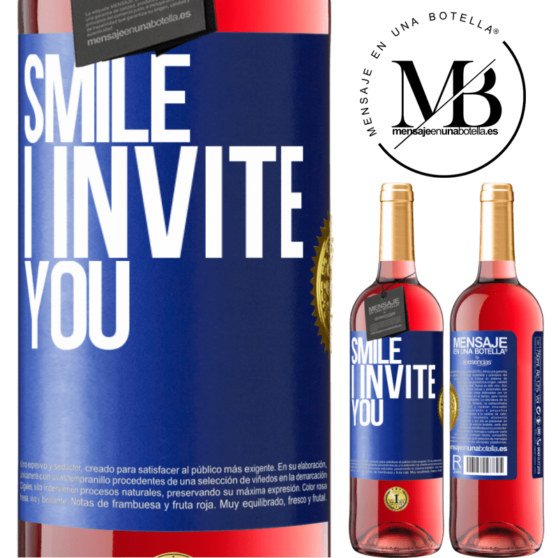 24,95 € Free Shipping | Rosé Wine ROSÉ Edition Smile I invite you Blue Label. Customizable label Young wine Harvest 2020 Tempranillo
